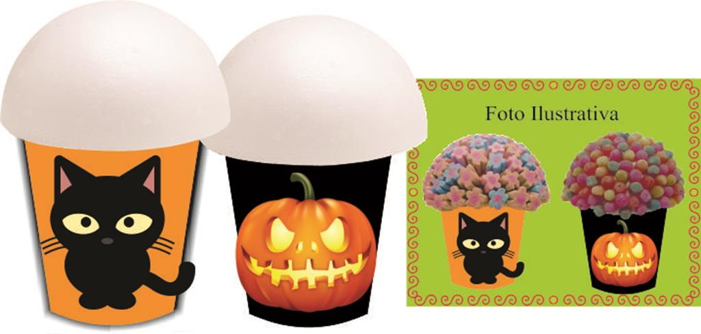 Kit festa Infantil Halloween (laranja e preto) 160 peças