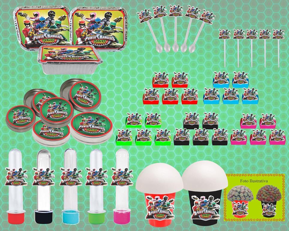Kit festa Infantil Power Ranger Dino Charger 160 peças