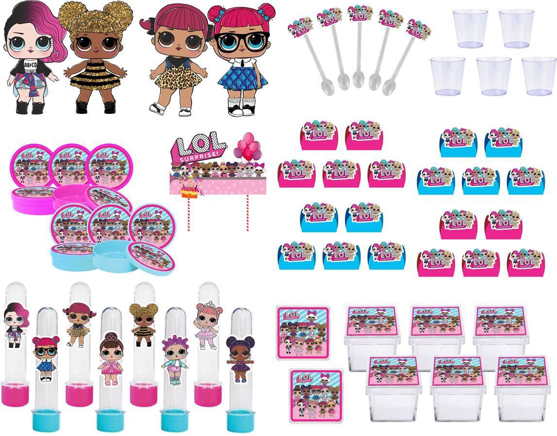 Kit festa Lol Surprise (pink e azul claro) 103 peças