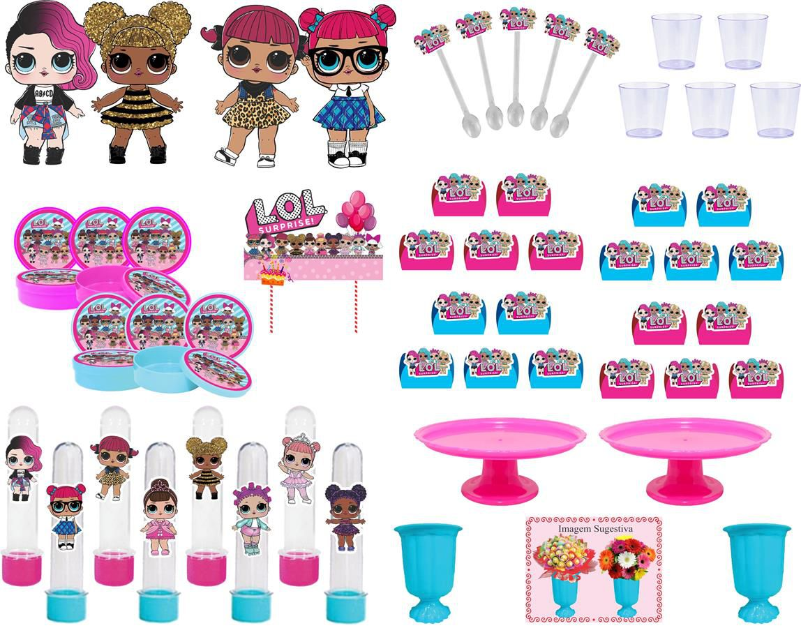 Kit festa Lol Surprise (pink e azul claro)  137 peças