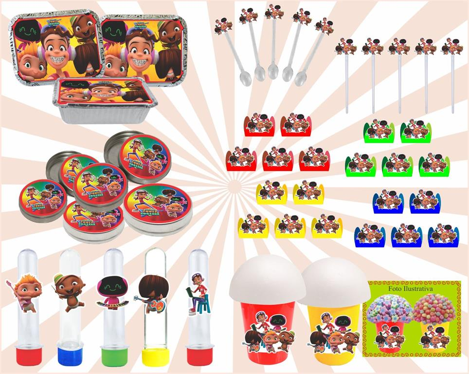 Kit festa Mini Beat Power Rockers 160 peças