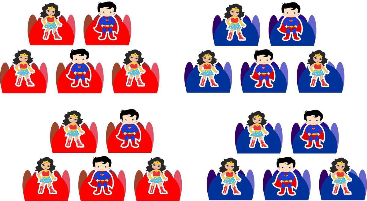 Kit festa Mulher Maravilha e Super Man Baby 155 peças