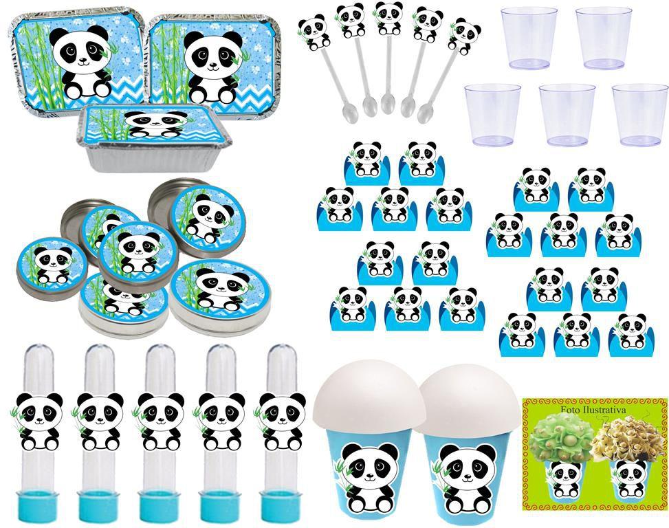 Kit Festa Panda menino (azul) 152 itens