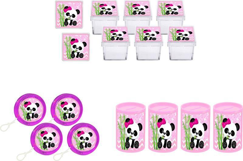 Kit ioiô, caixinha e cofrinho Panda Menina 60 peças