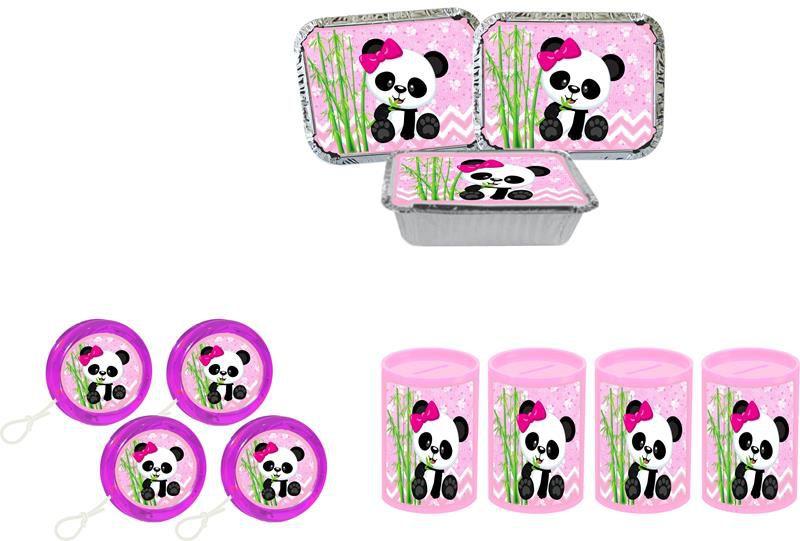 Kit Ioiô,cofrinho e marmitinha Panda Menina 60 peças
