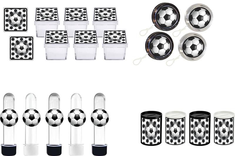 Kit ioiô,tubete,cofrinho,caixinha Futebol (preto e branco) 40 pças
