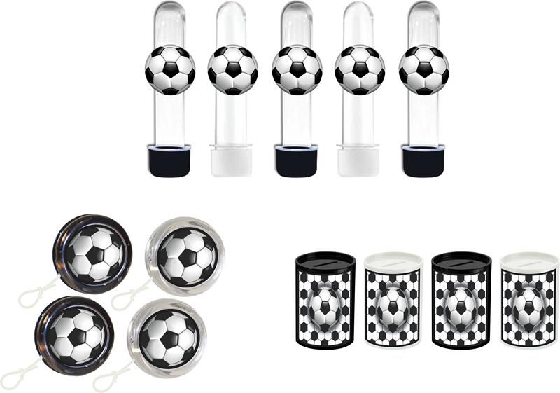 Kit tubete, ioiô e cofrinho futebol (preto e branco) 60 peças