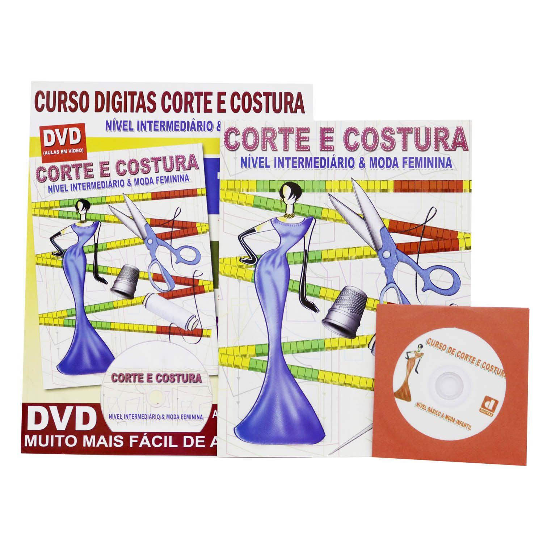 Curso Digitas Corte e Costura - Nível Intermediário & Moda Feminina - DVD + Revistas - Passo a Passo