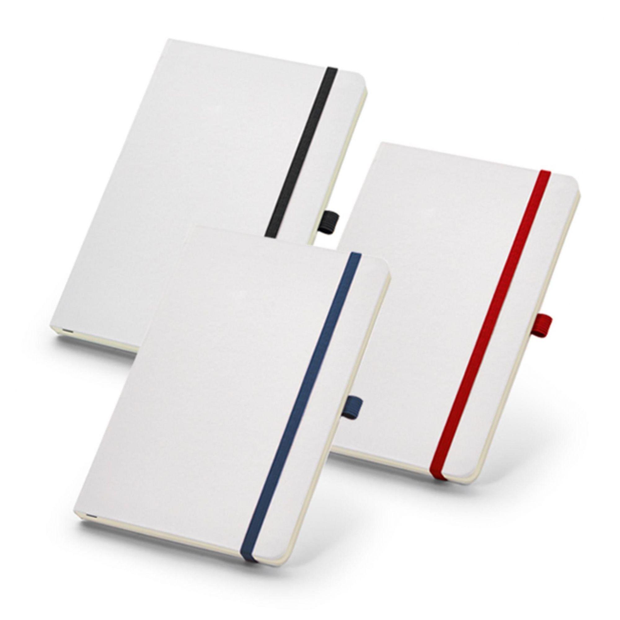 Caderneta Branca Elástico Colorido - Porta Caneta