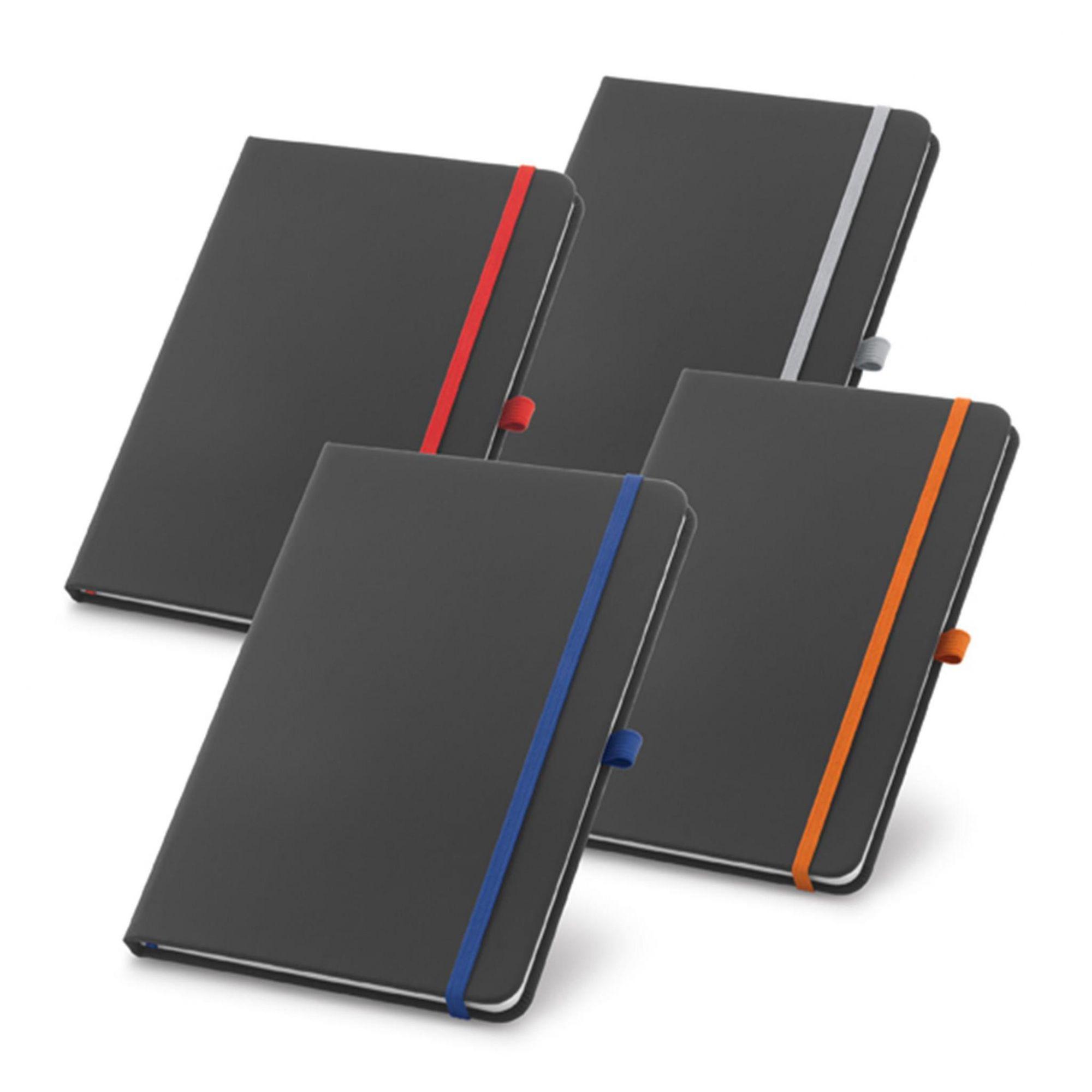 Caderneta Preta Elástico Colorido - Porta Caneta