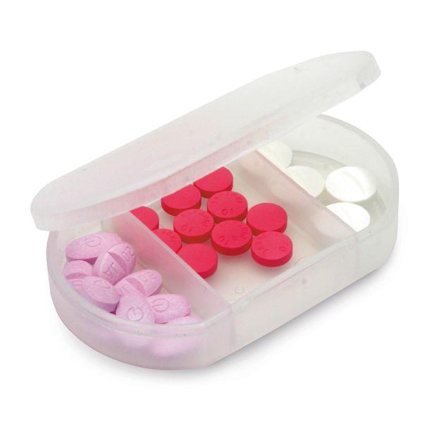Porta Comprimido com 3 divisórias Azul e branco