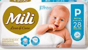 Fralda MILI LOVE & CARE Jumbo P 28 UNIDADES - 1040