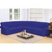 Capa de Sofá de Canto Elasticada para 3 e 2 Lugares Azul Bic