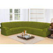 Capa de Sofá de Canto Elasticada para 3 e 2 Lugares Verde