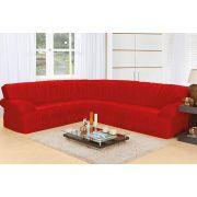 Capa de Sofá de Canto Elasticada para 3 e 2 Lugares Vermelho