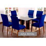 Capa para cadeira com estofado  Kit com 06 Unidades- AZUL ROYAL