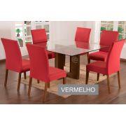 Capa para Cadeira com estofado Kit com 06 Unidades cores Vermelho