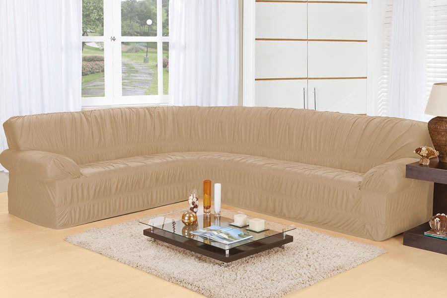 Capa de Sofá de Canto Elasticada para 3 e 2 Lugares Bege