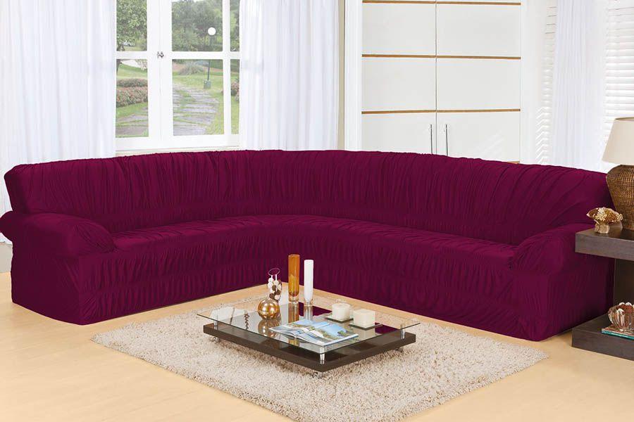Capa de Sofá de Canto Elasticada para 3 e 2 Lugares Vinho