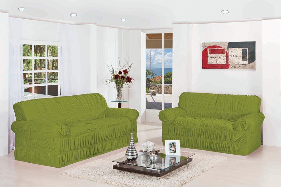Capa de Sofá Wanda Elasticada para 3 e 2 Lugares Verde