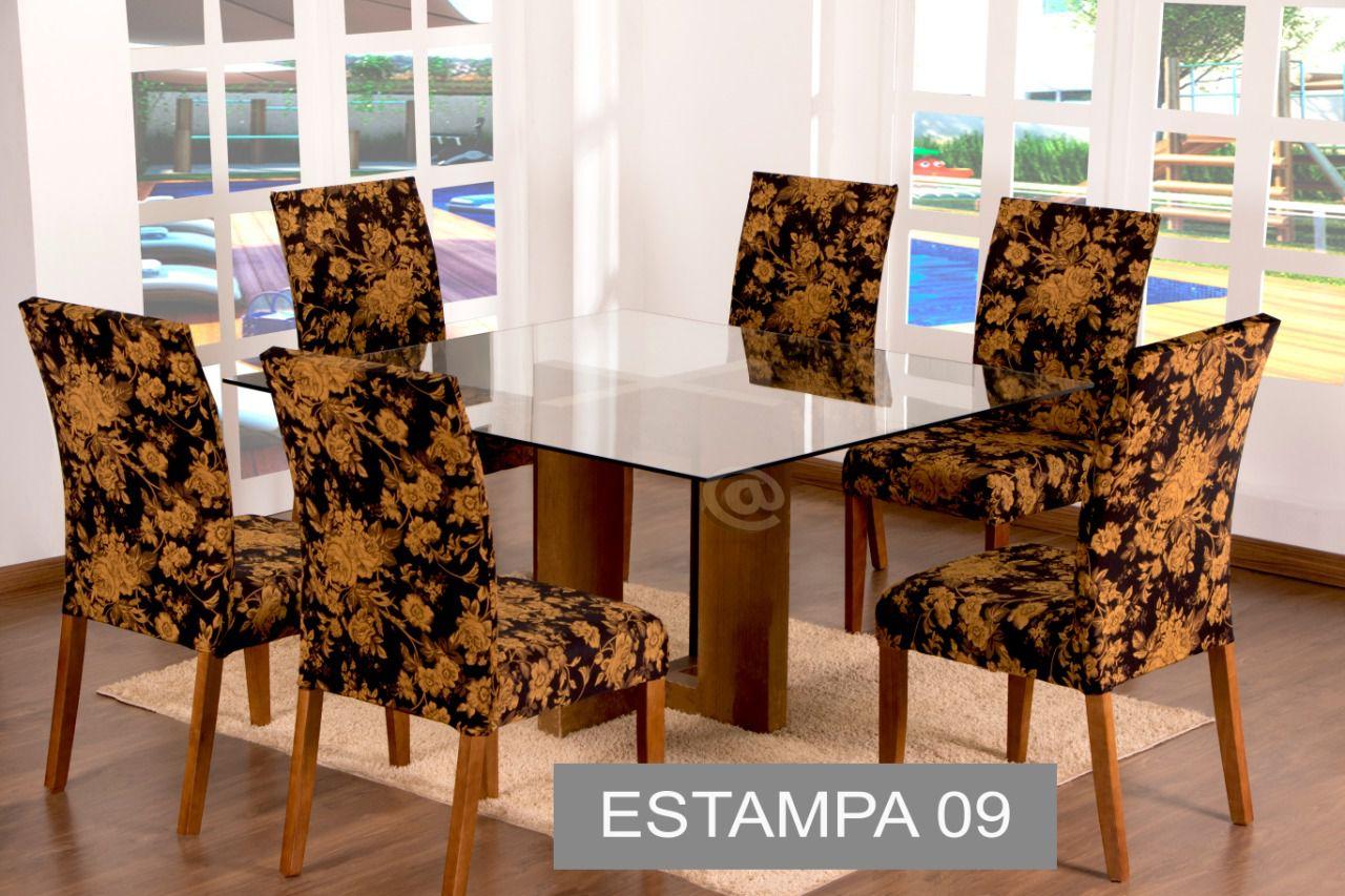CAPA PARA CADEIRA COM ESTOFADO KIT COM 04 UNIDADES- ESTAMPA 09