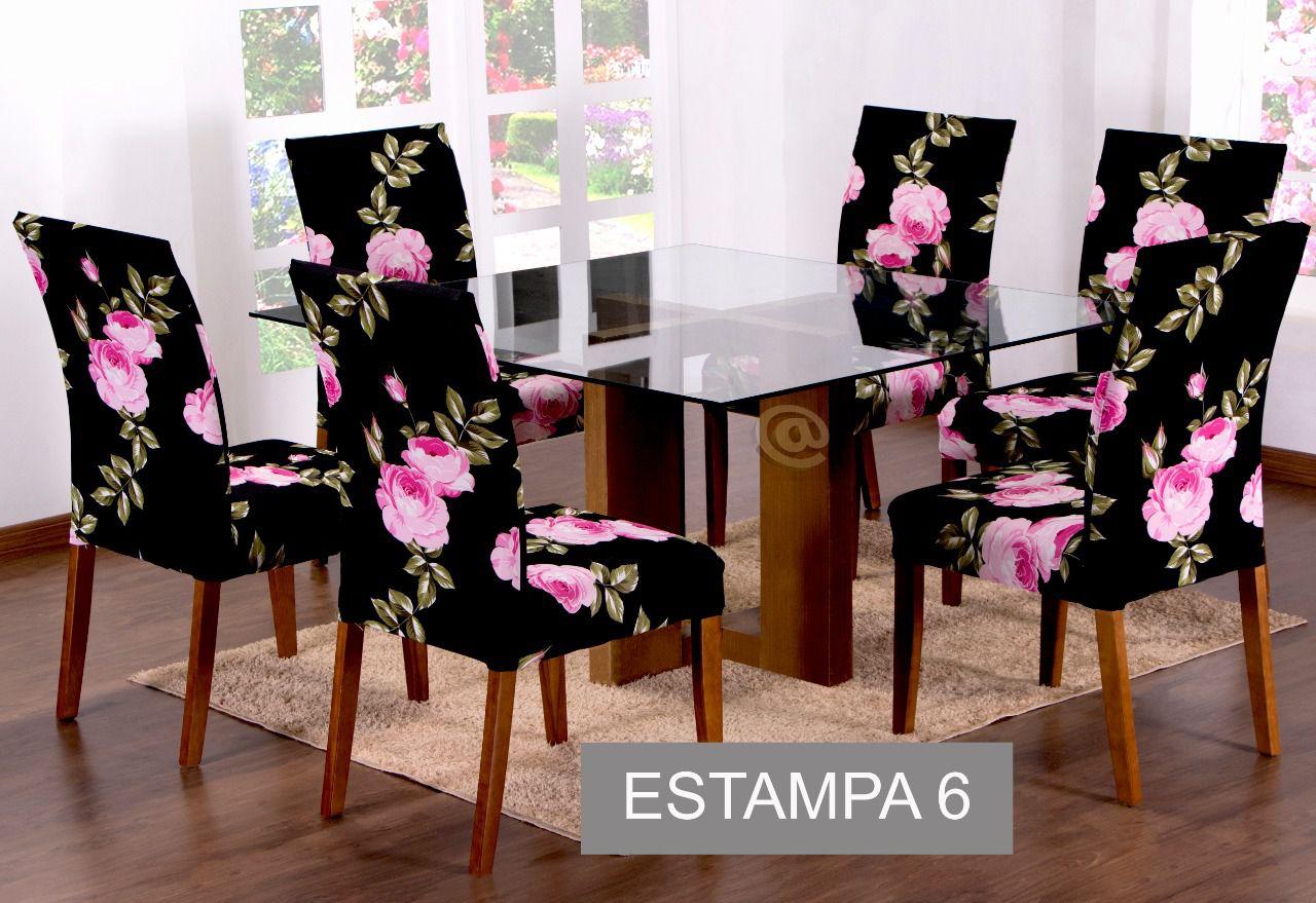 CAPA PARA CADEIRA COM ESTOFADO KIT COM 04 UNIDADES- ESTAMPA 6