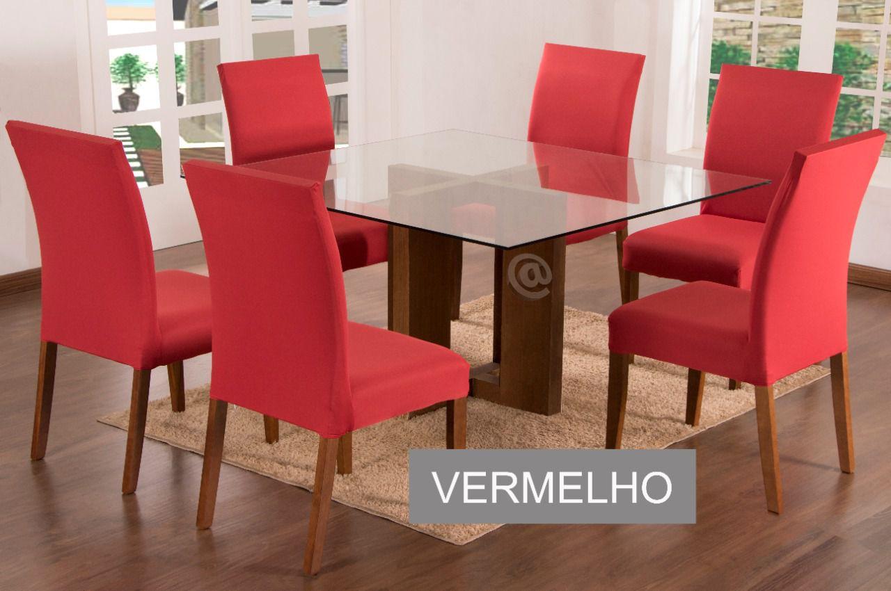 Capa para Cadeira com estofado Kit com 06 Unidades cor Vermelho