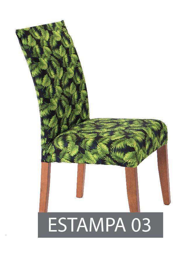 Capa para cadeira com estofado  Kit com 06 Unidades- Estampado