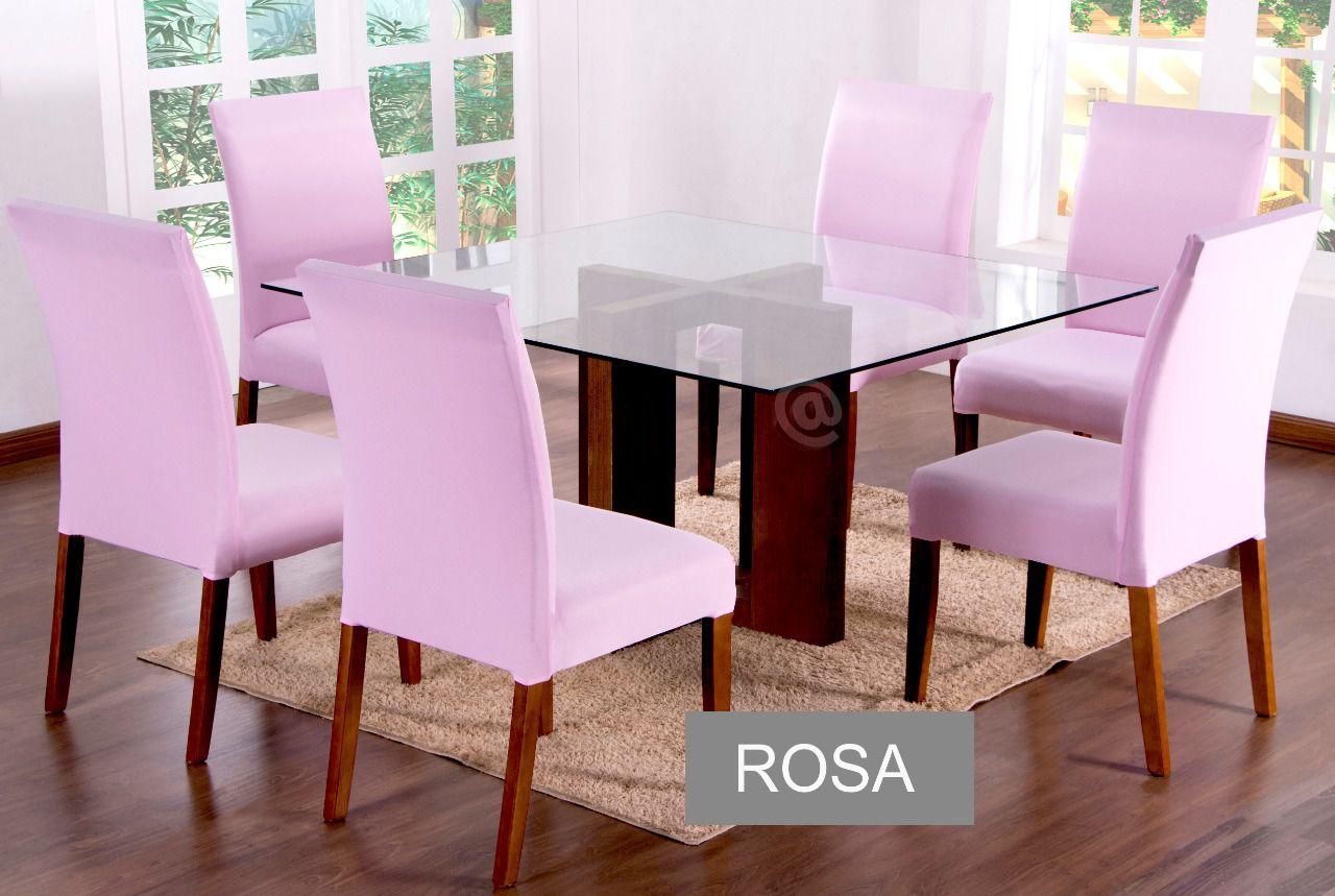 Capa para cadeira com estofado  Kit com 06 Unidades- ROSA