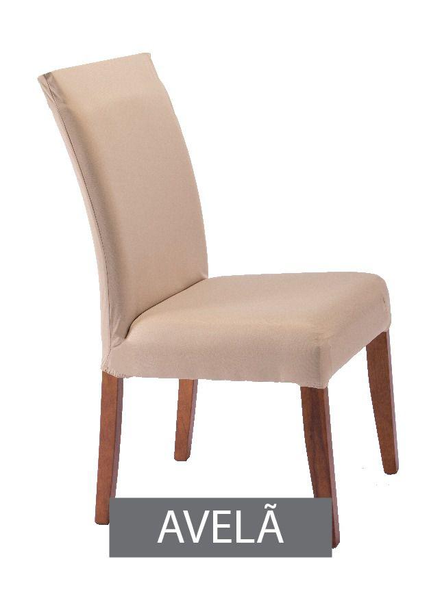 Capa para Cadeira com Estofado- KIt com 4 Unidades  Cor Avela