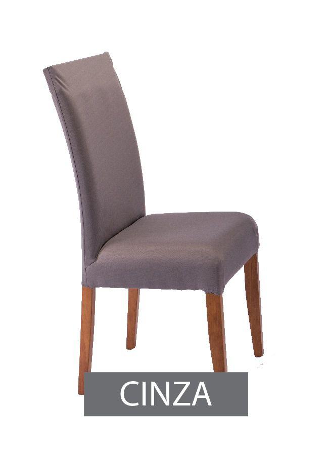 Capa para Cadeira com Estofado- KIt com 4 Unidades  Cor Cinza