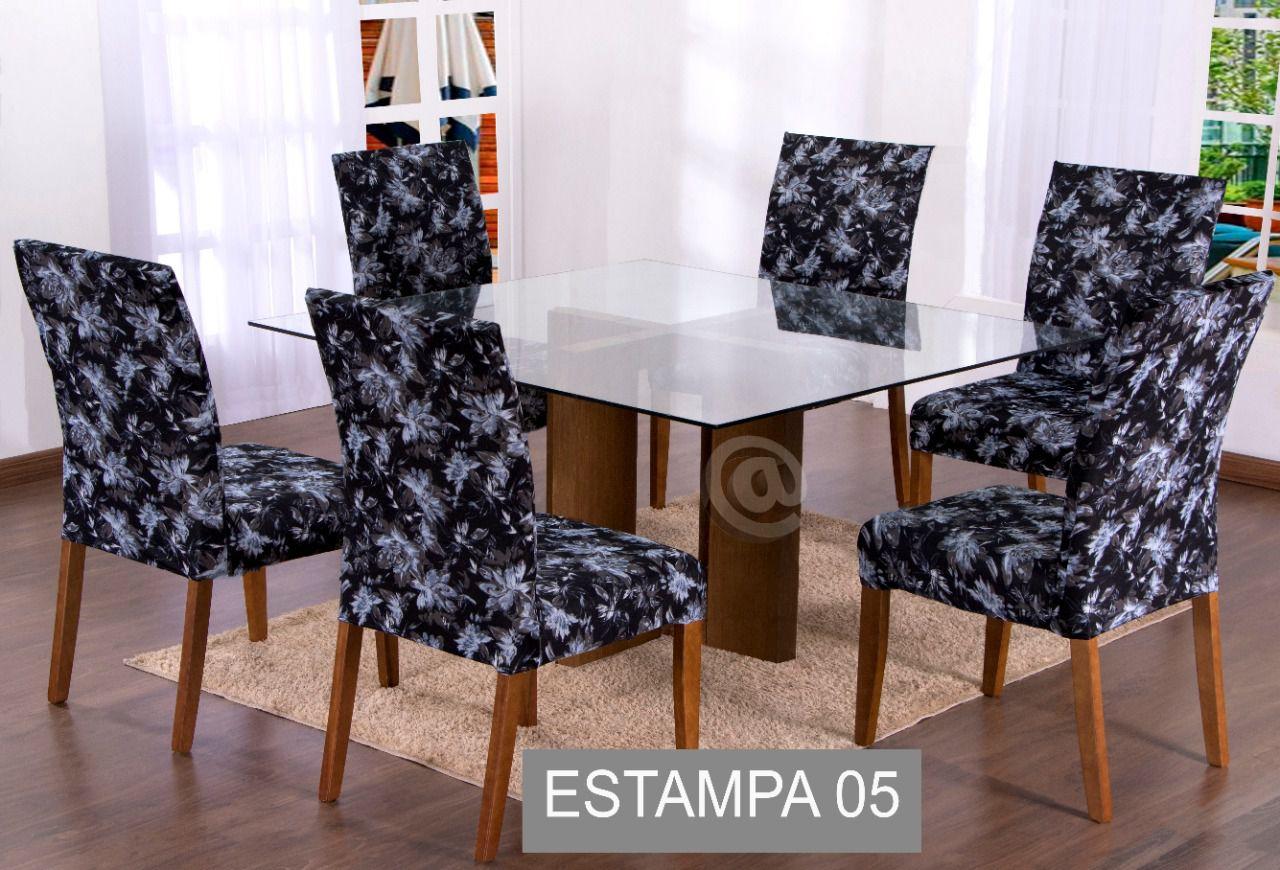 Capa Para Cadeira Kit Com 6 Unidades- Estampa 05