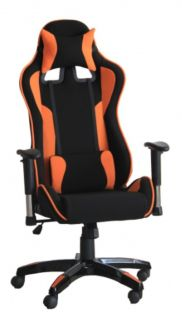Cadeira Gamer com Reclinação de 180° - Preto / Laranja