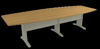 Mesa Reunião Semi-Oval Bipartida de 25 mm - Saia de Aço - Impéria Premium