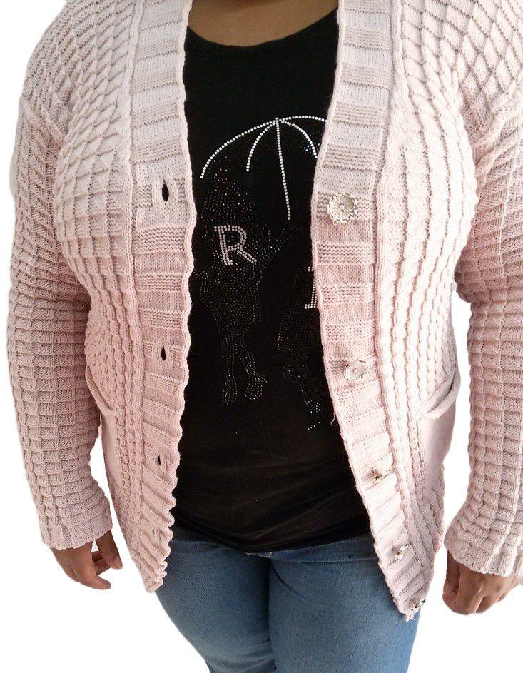 6fa09cfa7e87 Blusa Tricot Plus Size Cardigan Casaco Feminina Botões - Mais Bela