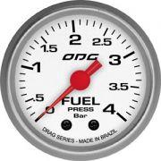 Manômetro ODG Drag Combustível Fuel 4 bar 52mm