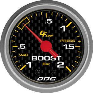 Manômetro ODG Carbon Turbo Boost -1 a 2 bar 52mm