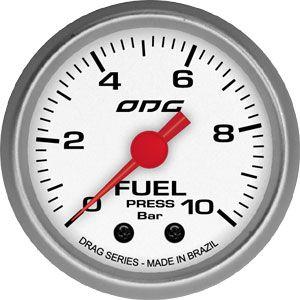 Manômetro ODG Drag Combustível Fuel 10 bar 52mm