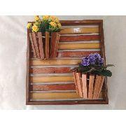Painel Com Moldura De Madeira Para Flores Plantas Com 2 Vasos