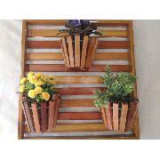 Painel De Madeira Com Moldura Para Flores  Plantas Com 3 Vasos