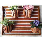 Painel Com Moldura De Madeira Para Flores Plantas Com 4 Vasos