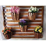 Painel De Madeira Com Moldura Para Flores Plantas Com 5 Vasos Movéis