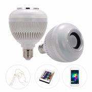 Lampada Led 6w Rgb Caixa Som Bluetooth Controle 2 Em 1 Mp3