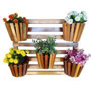 Painel De Madeira Para Flores Plantas Com 5 Vasos Movéis