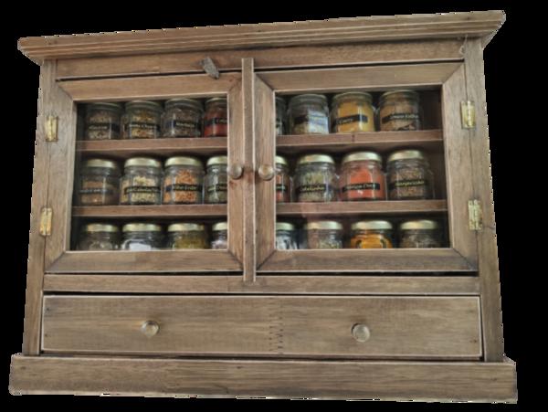 Armarinho Porta Temperos E Condimentos Com 24 Vidros E Gaveta