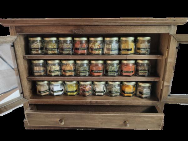Porta Temperos E Condimentos Armario Com 24 Vidros Com Gaveta E Temperos