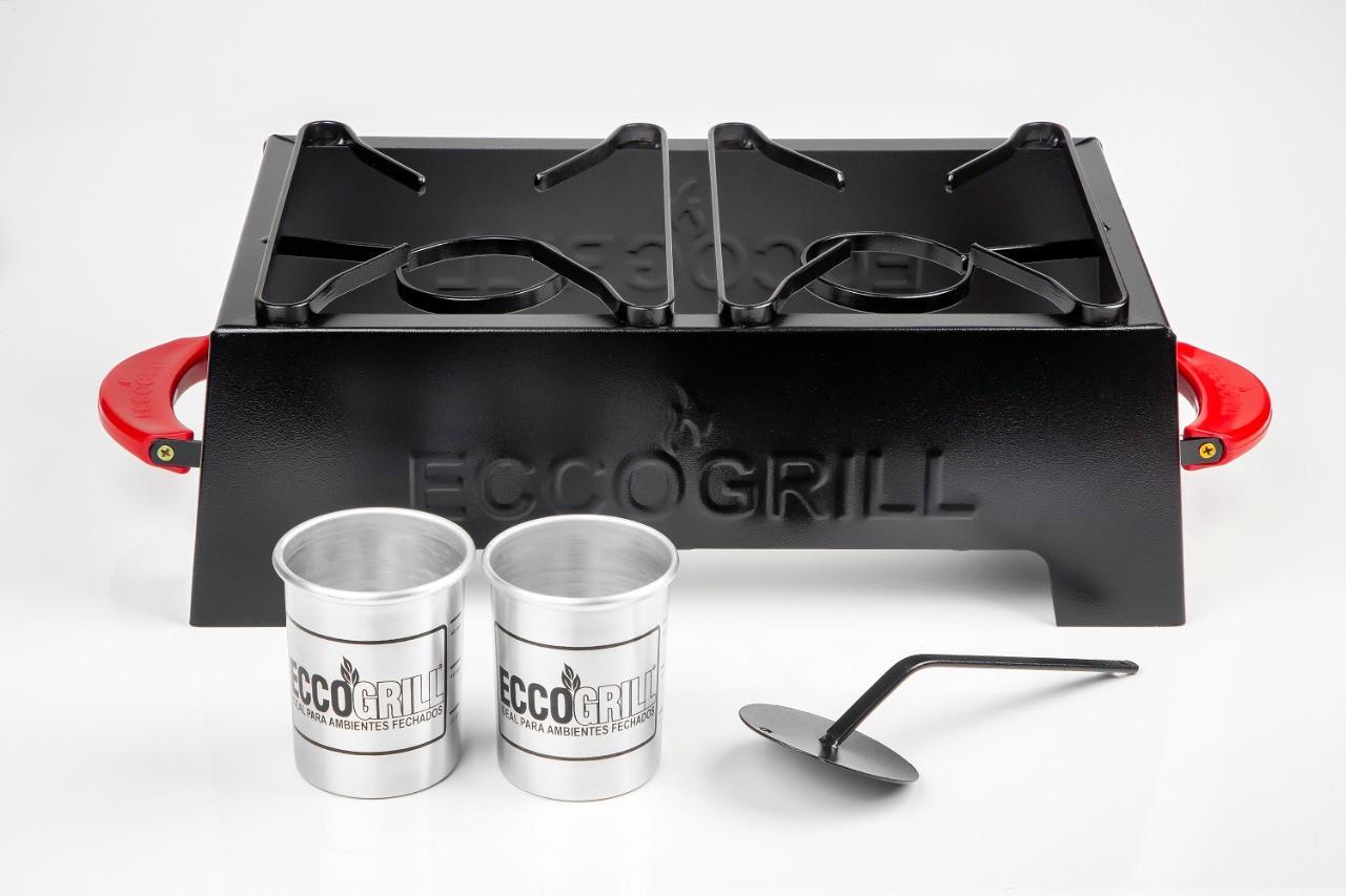 Churrasqueira Eccogrill Premium Fosco 2 bocas Cabo Vermelho