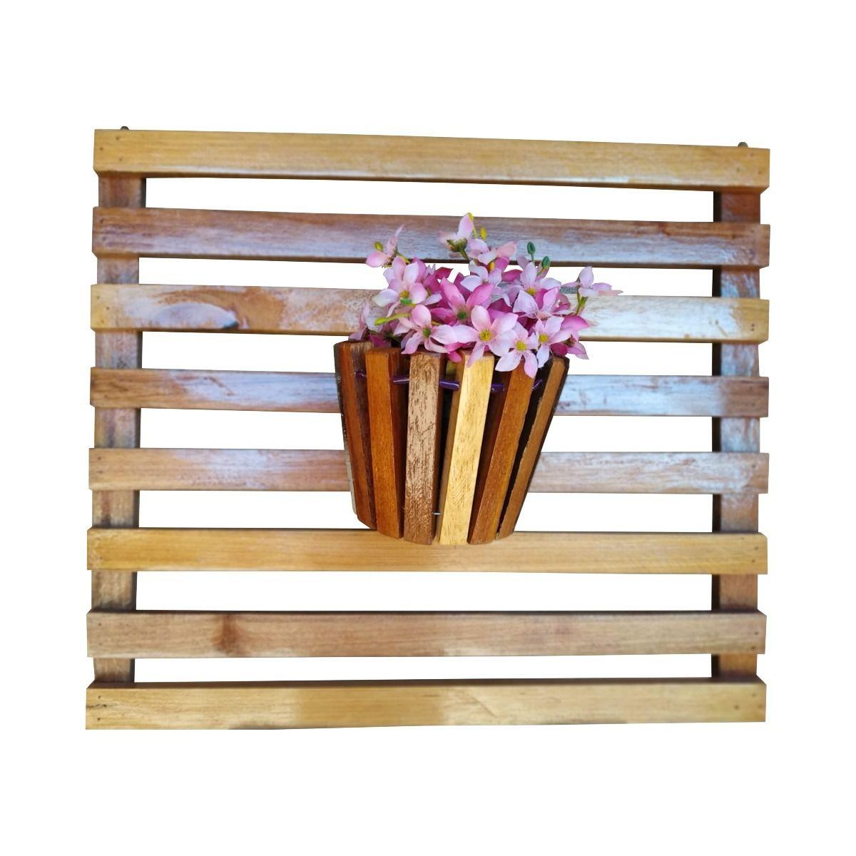 Painel De Madeira Para Flores Plantas Com 4 Vasos Movéis