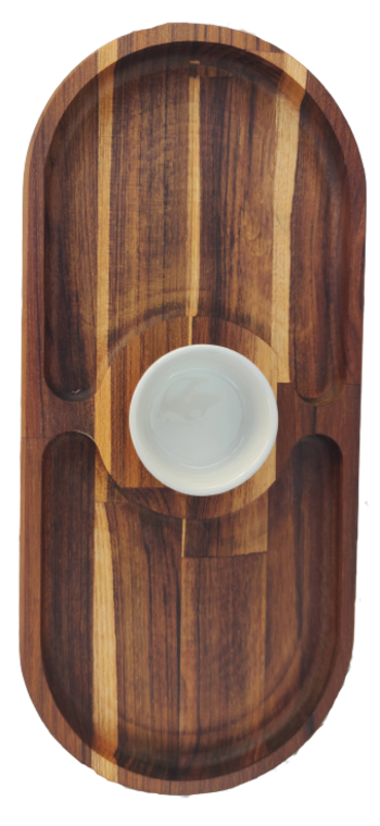 Petisqueira Retangular De Madeira E Pote De Cerâmica