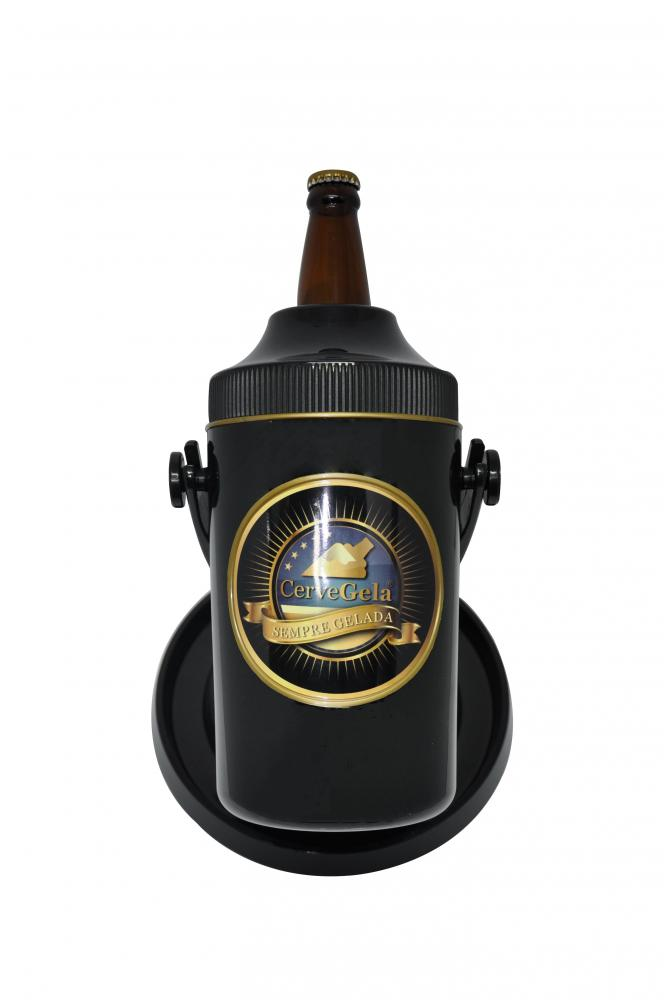 Porta Cerveja Elite Com Suporte Rotativo Preto E Dourado Cervegela